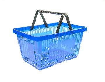Winkelmand 28 liter transparant blauw